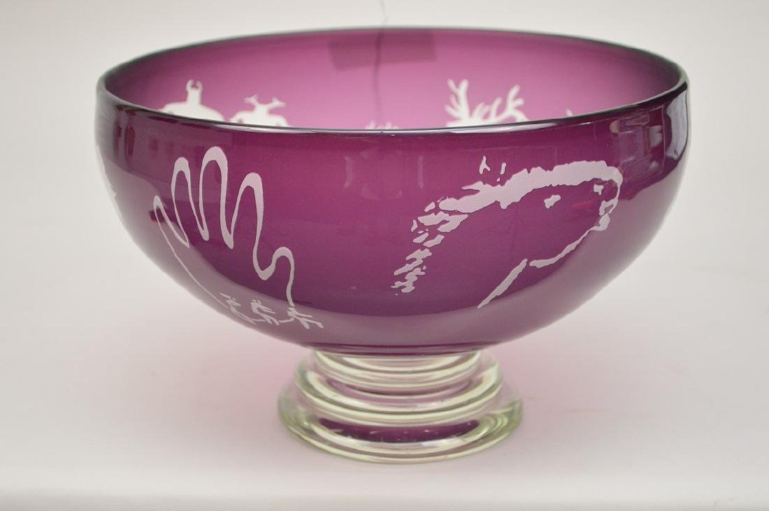 Art glass bowl, Amethyst cut to clear with etched