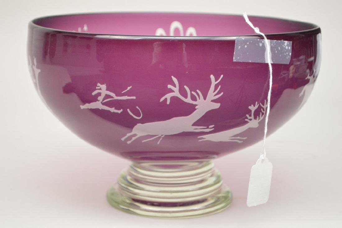 Art glass bowl, Amethyst cut to clear with etched - 4