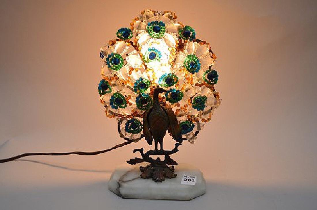 "Gilt metal Peacock lamp with beads on onyx base, 13""h x - 10"