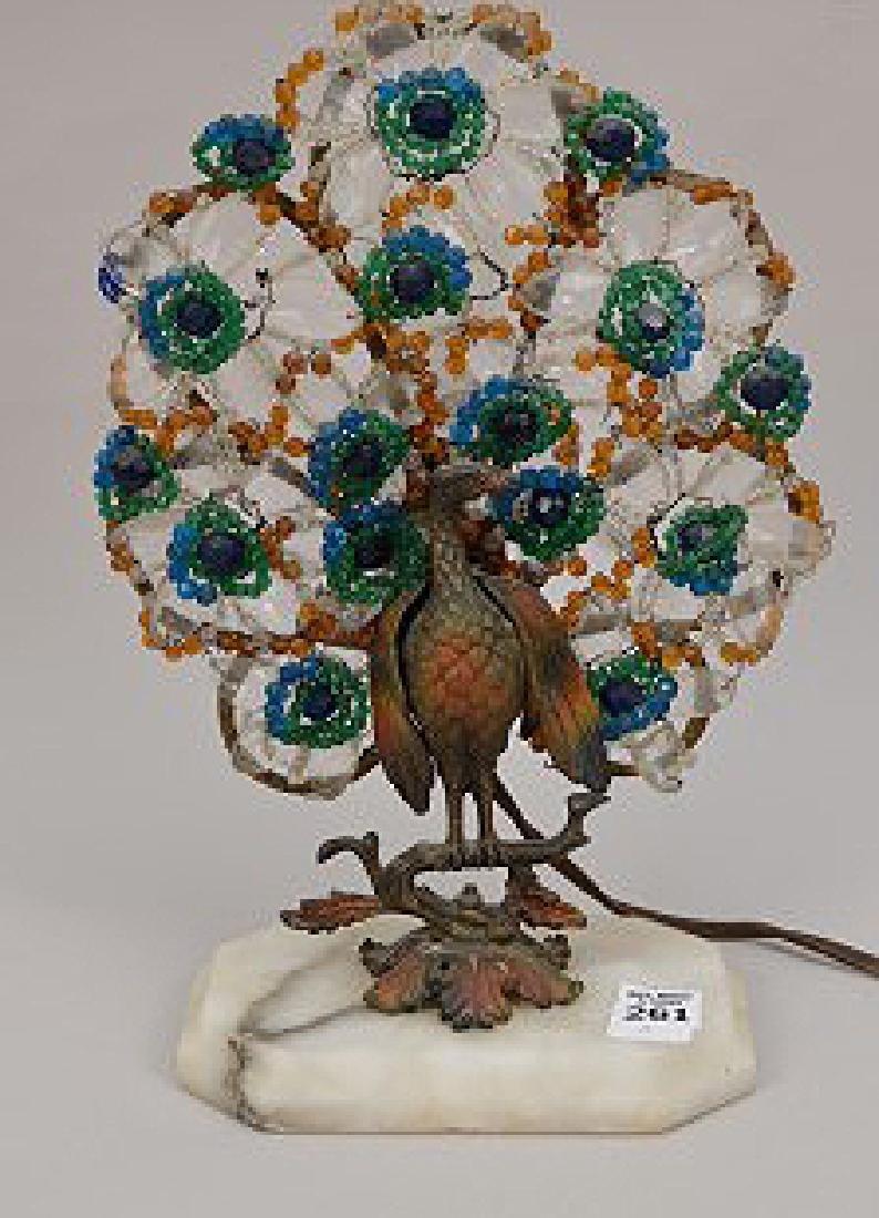"Gilt metal Peacock lamp with beads on onyx base, 13""h x"