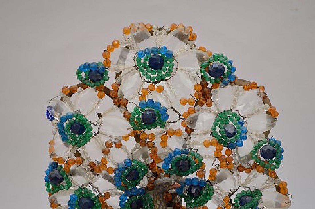 "Gilt metal Peacock lamp with beads on onyx base, 13""h x - 2"