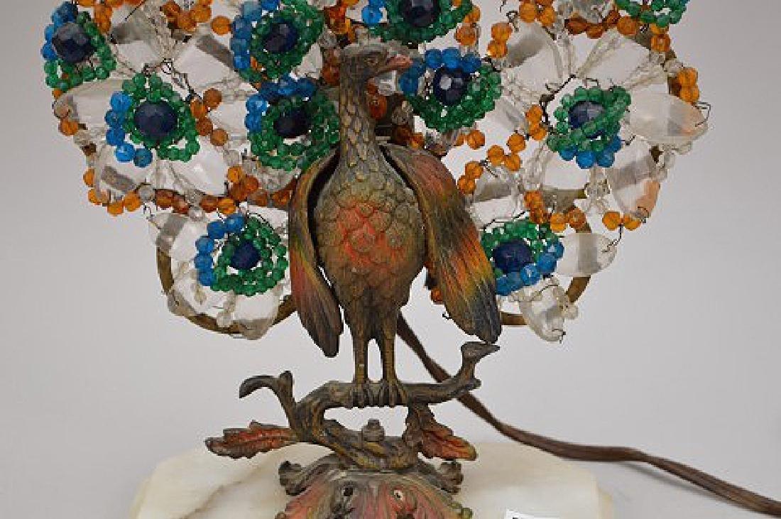 "Gilt metal Peacock lamp with beads on onyx base, 13""h x - 3"