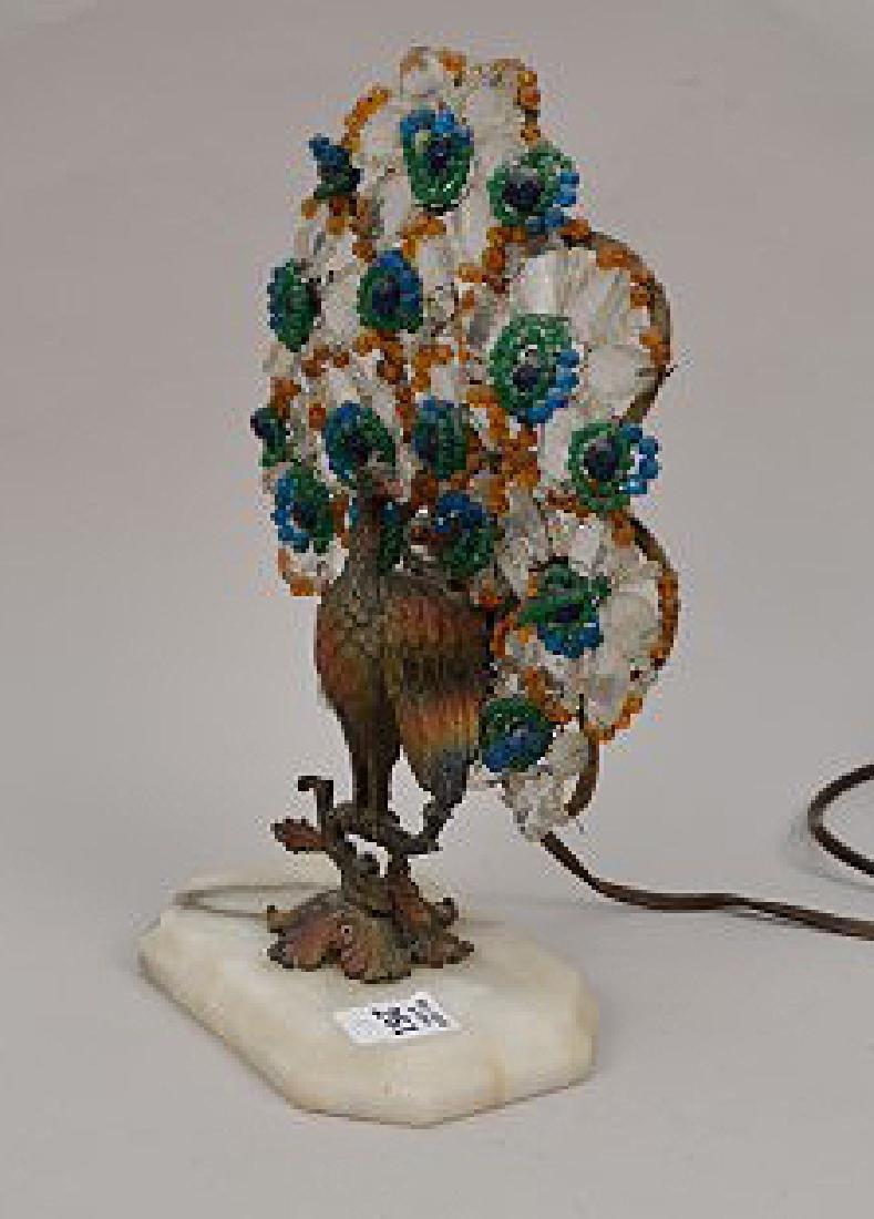 "Gilt metal Peacock lamp with beads on onyx base, 13""h x - 5"