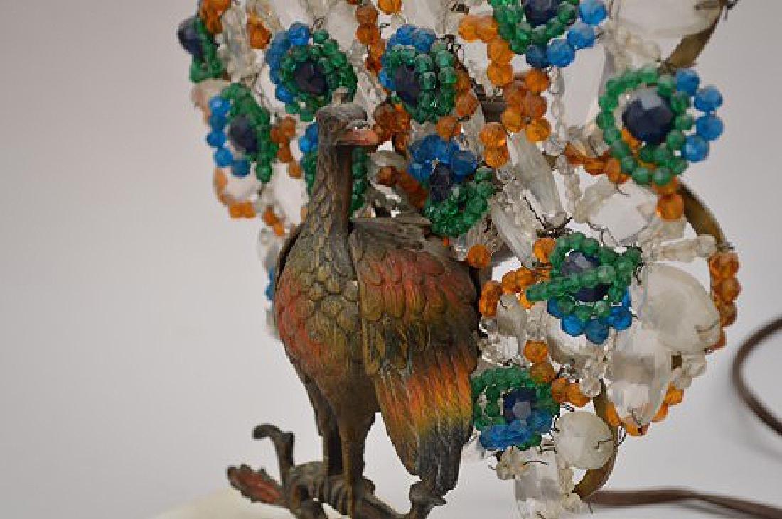 "Gilt metal Peacock lamp with beads on onyx base, 13""h x - 6"