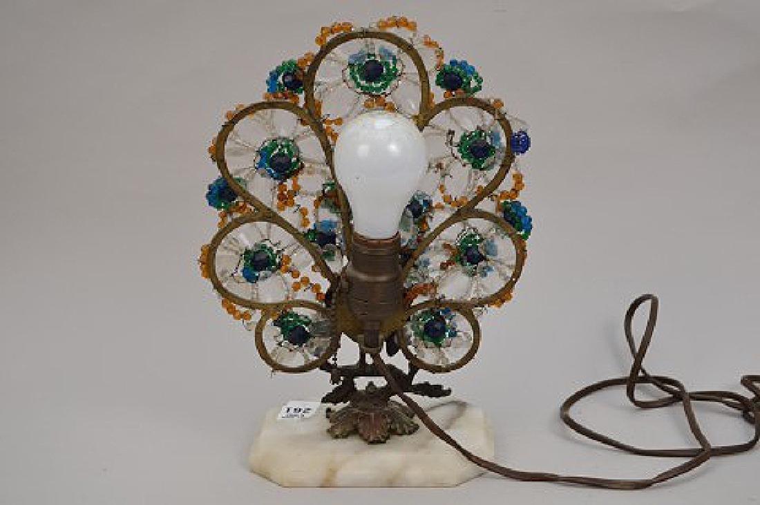 "Gilt metal Peacock lamp with beads on onyx base, 13""h x - 7"