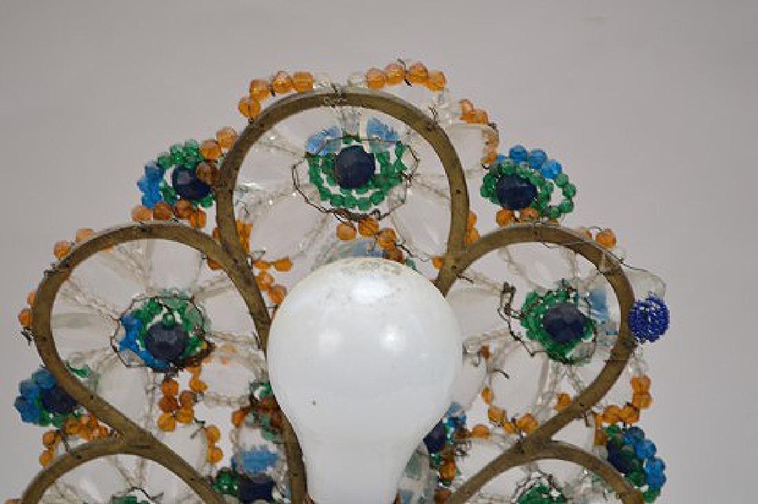 "Gilt metal Peacock lamp with beads on onyx base, 13""h x - 8"