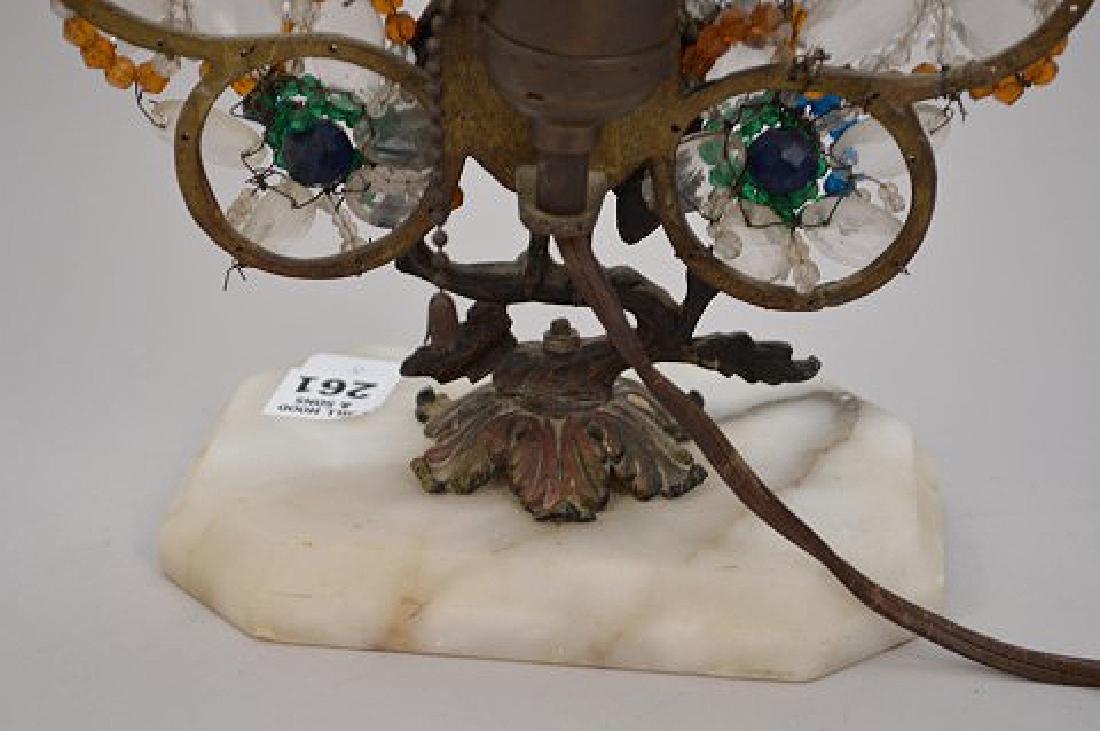"Gilt metal Peacock lamp with beads on onyx base, 13""h x - 9"