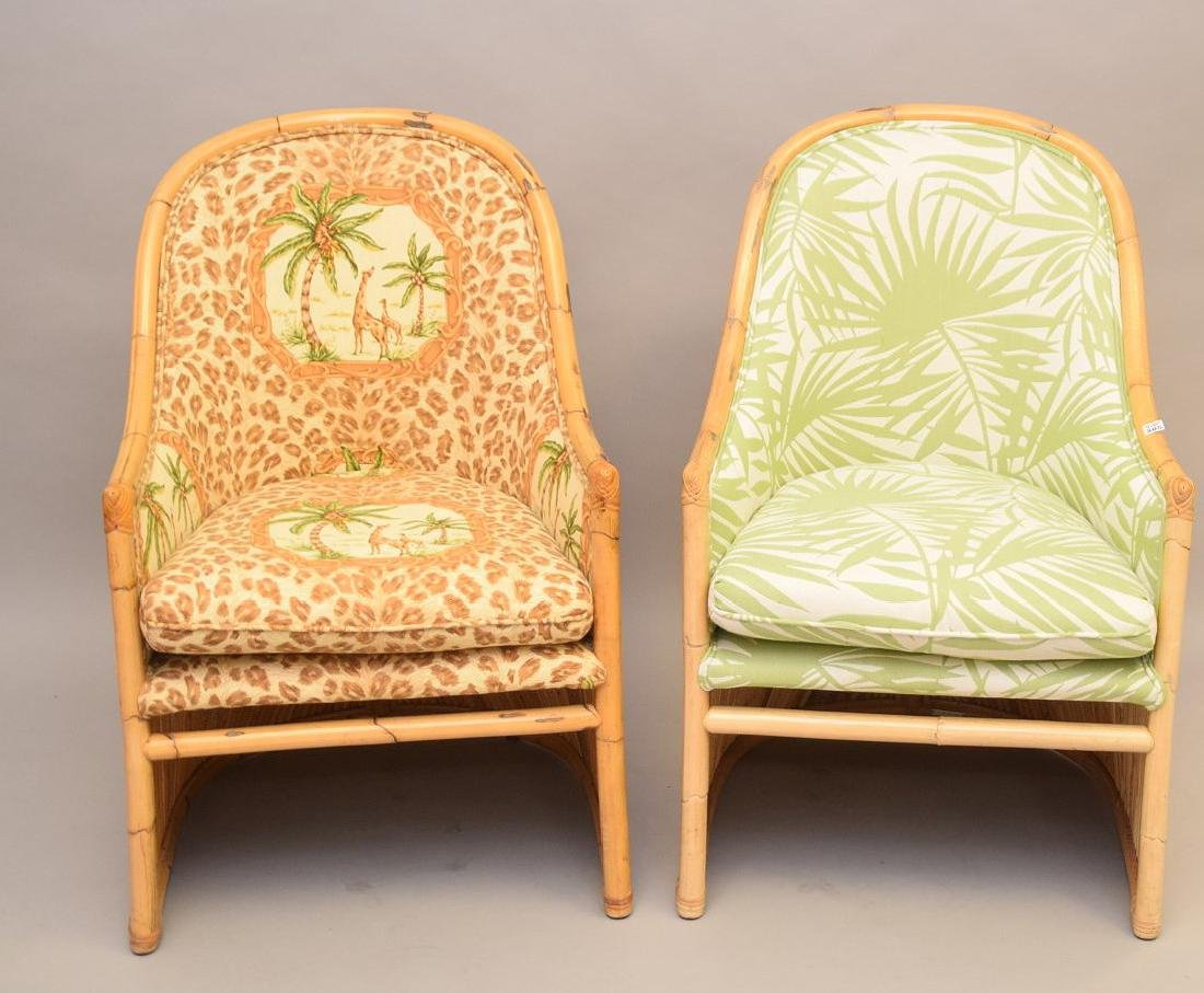 2 vintage reeded rattan arm chairs with tropical