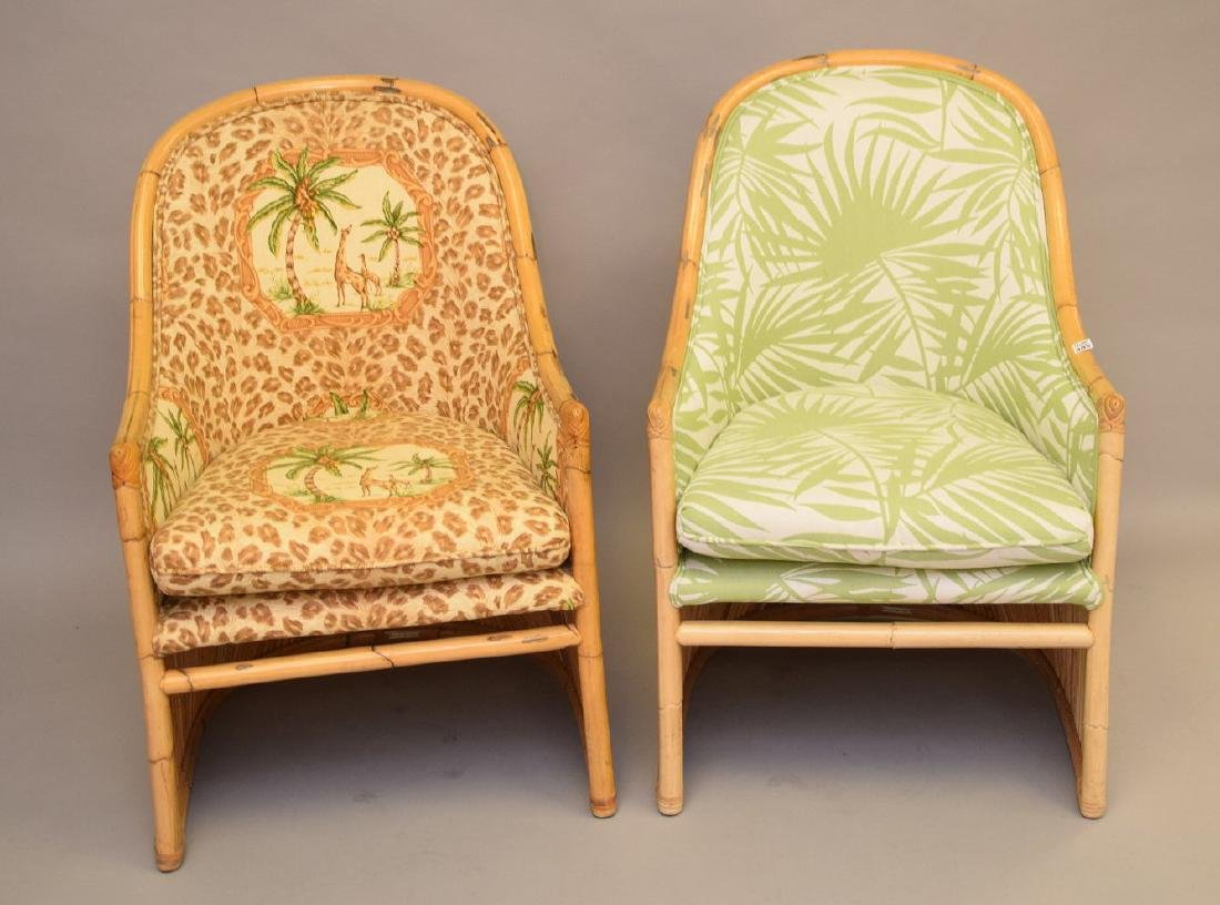 2 vintage reeded rattan arm chairs with tropical - 2