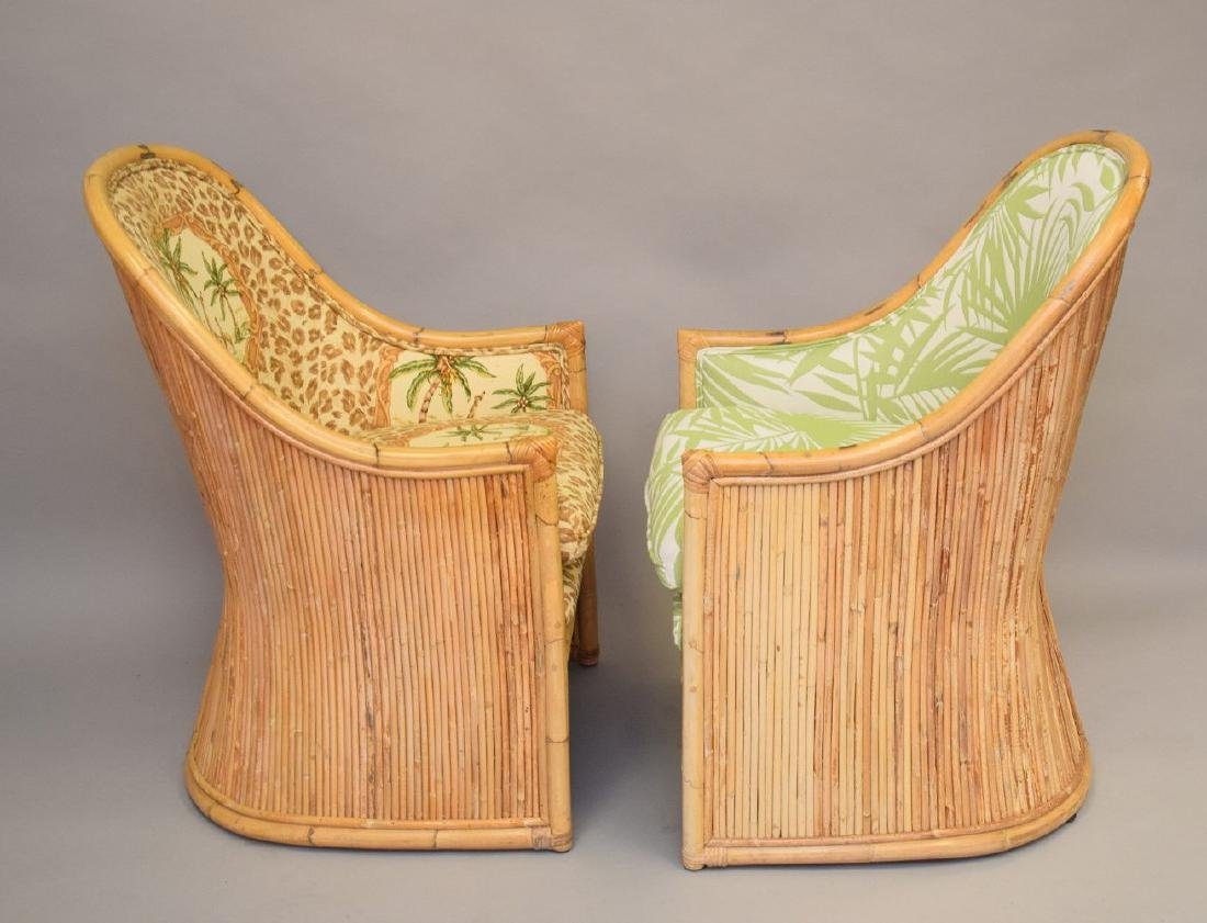 2 vintage reeded rattan arm chairs with tropical - 3