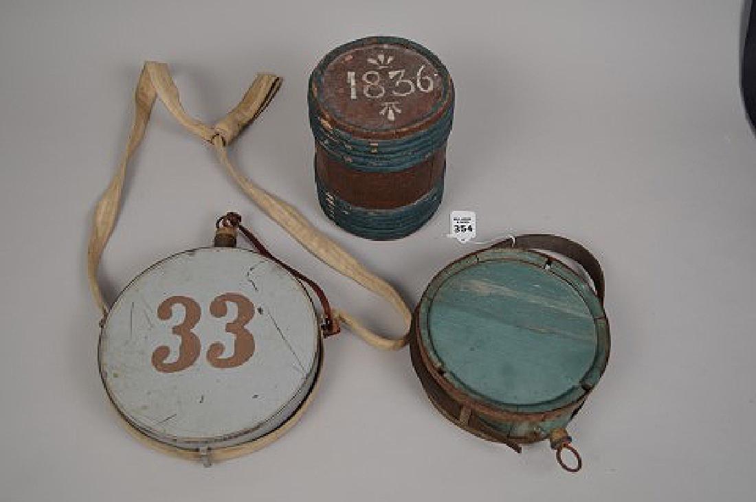 3 early American Civil War Canteens and powder Keg