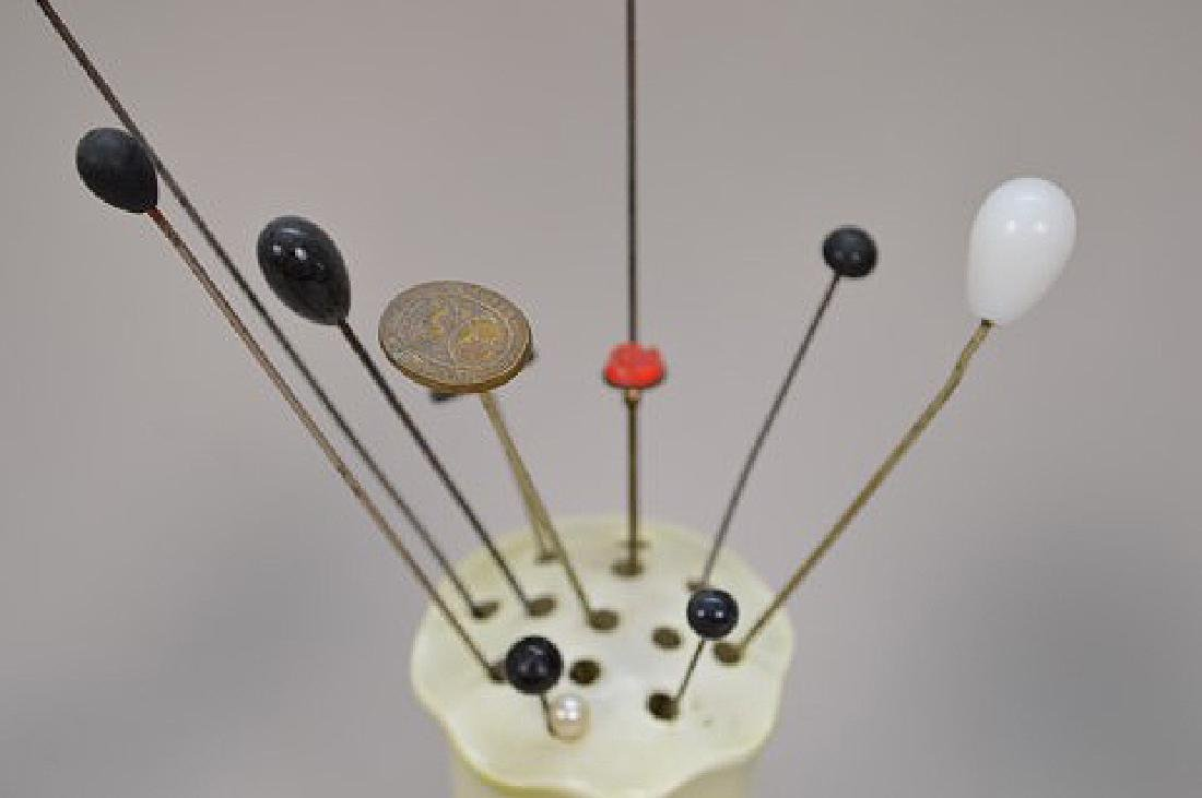 Collection of vintage hat pins & 4 holders - 6