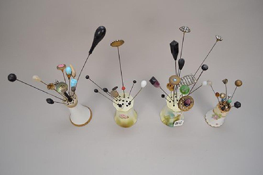 Collection of vintage hat pins & 4 holders - 8