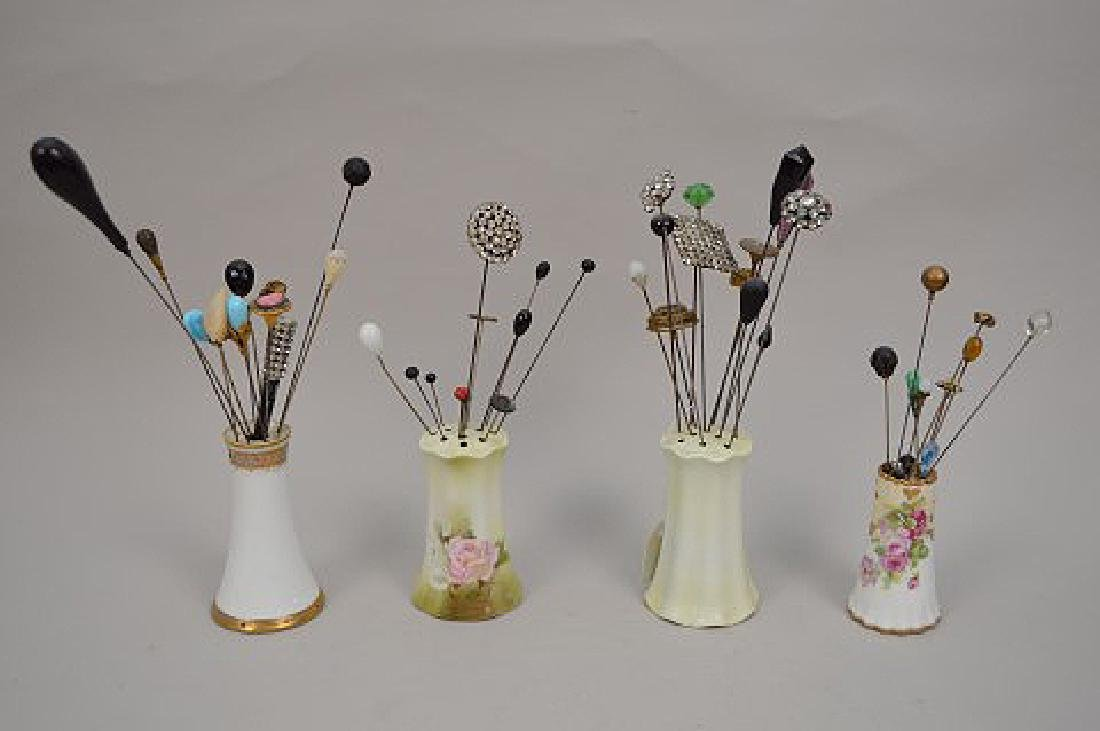 Collection of vintage hat pins & 4 holders - 9
