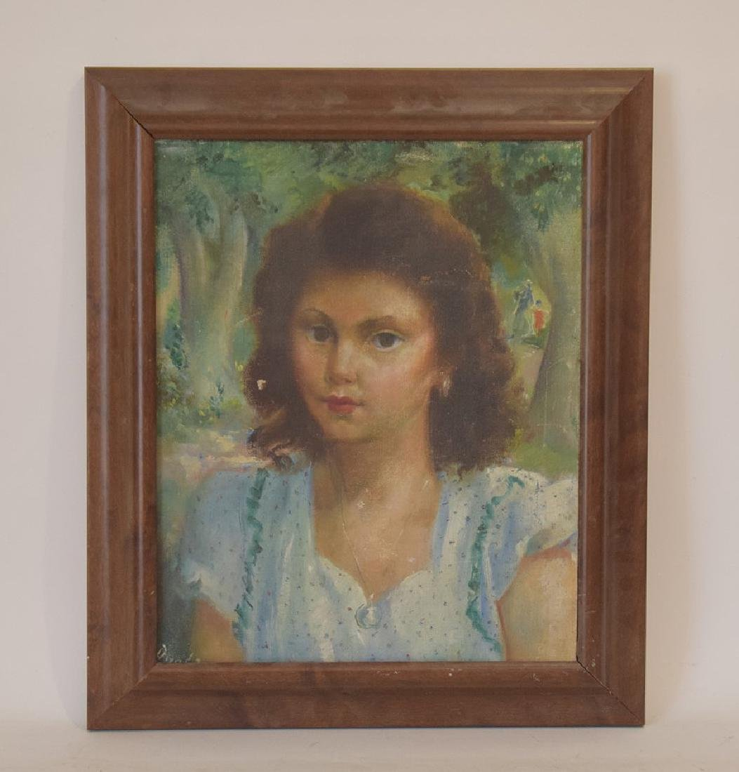 American School oil on canvas, Portrait young girl,