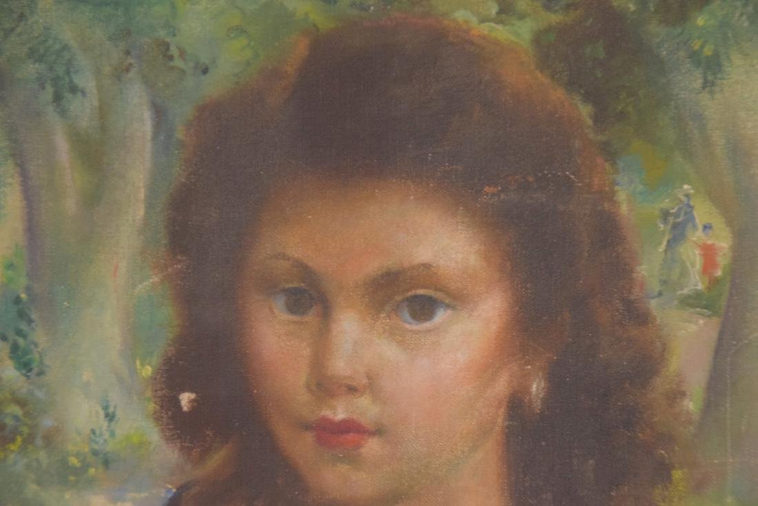 American School oil on canvas, Portrait young girl, - 2