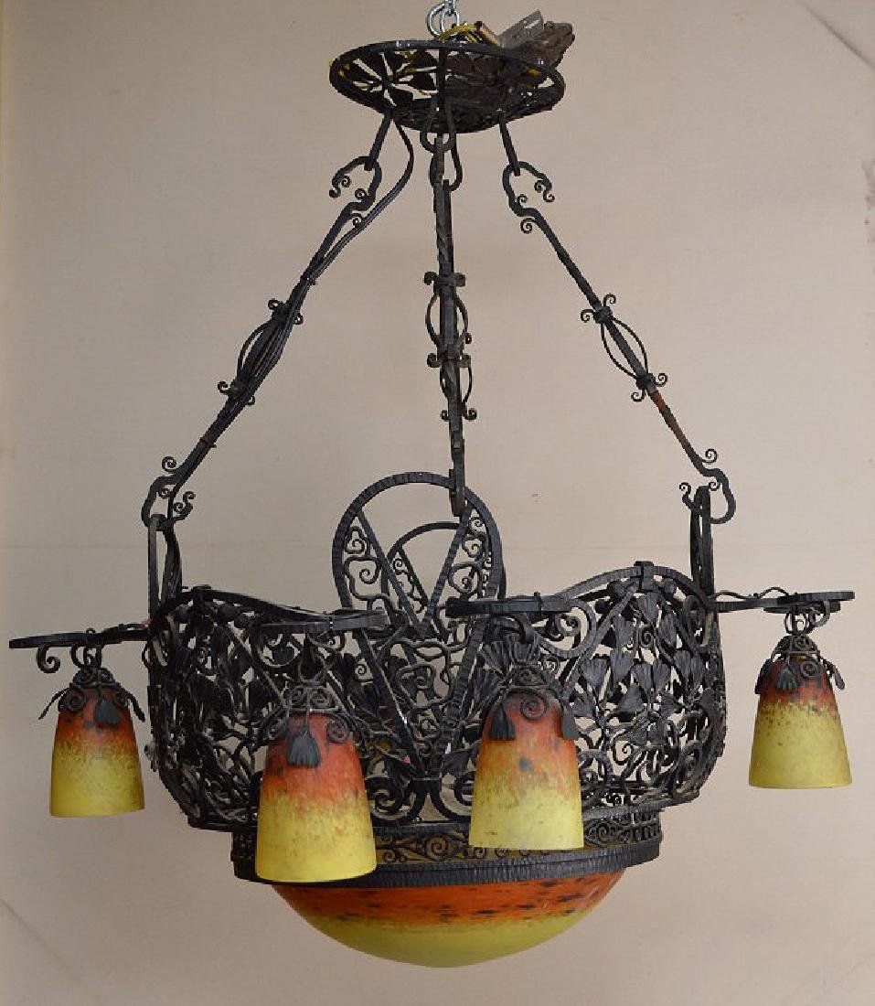 Iron lacey hanging basket chandelier, yellow & orange