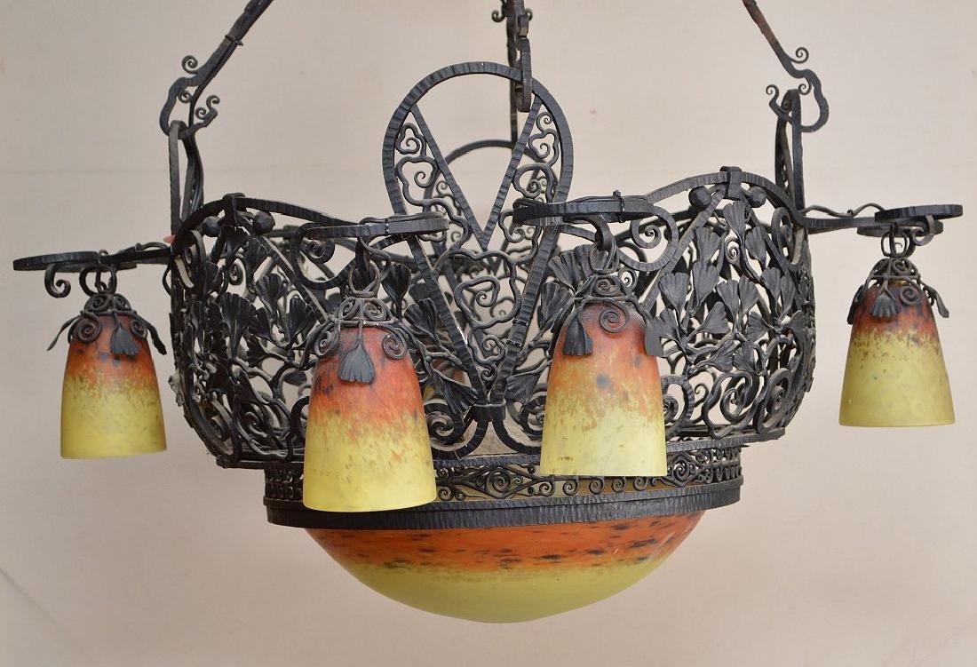 Iron lacey hanging basket chandelier, yellow & orange - 2