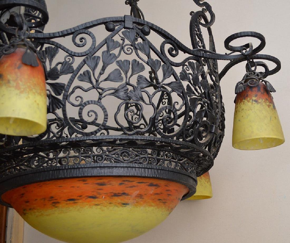Iron lacey hanging basket chandelier, yellow & orange - 4