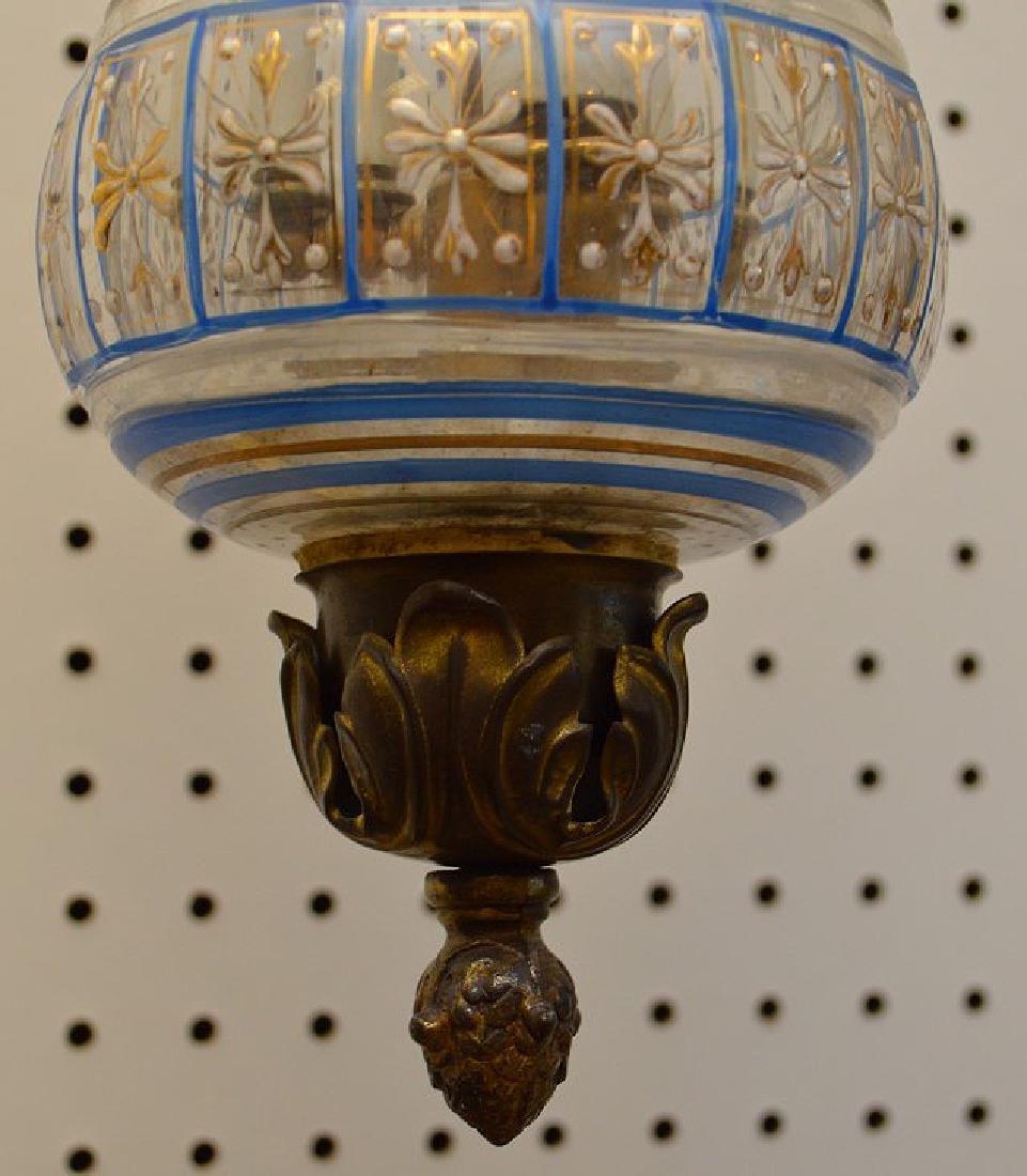 Eastern European glass shade, 2 light fixture, wall - 5