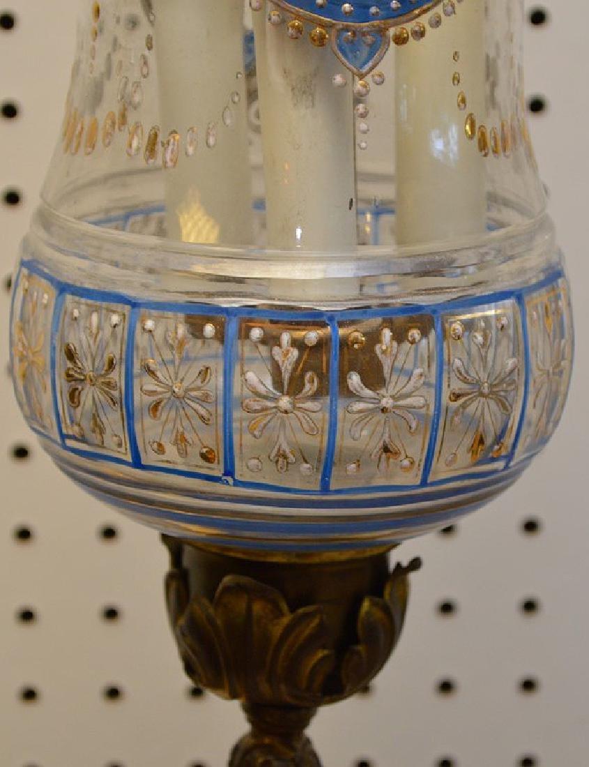 Eastern European glass shade, 2 light fixture, wall - 7