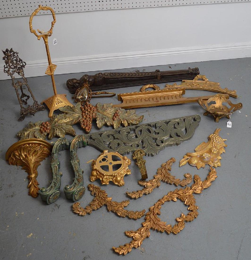 Collection of antique brass & wood accoutrements,