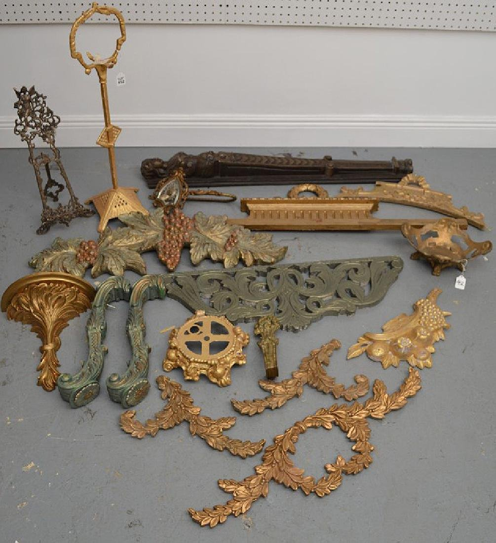 Collection of antique brass & wood accoutrements, - 2