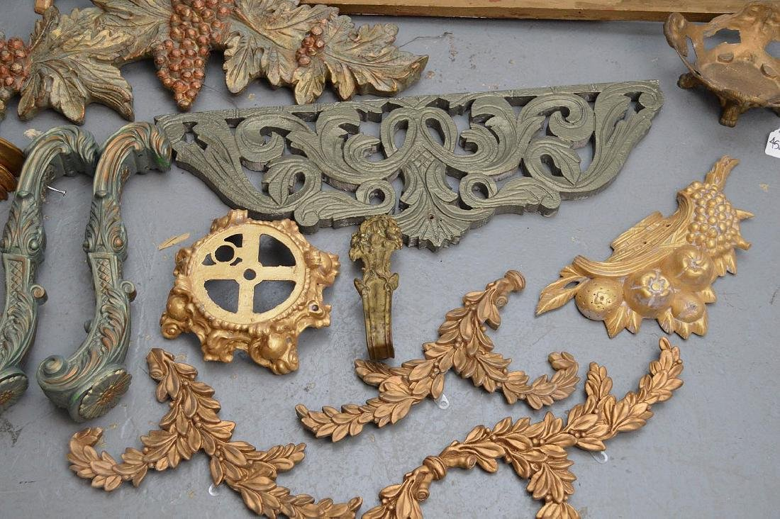 Collection of antique brass & wood accoutrements, - 3
