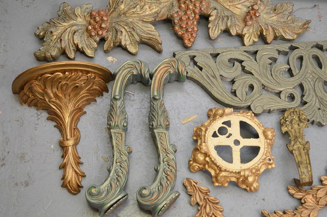 Collection of antique brass & wood accoutrements, - 4