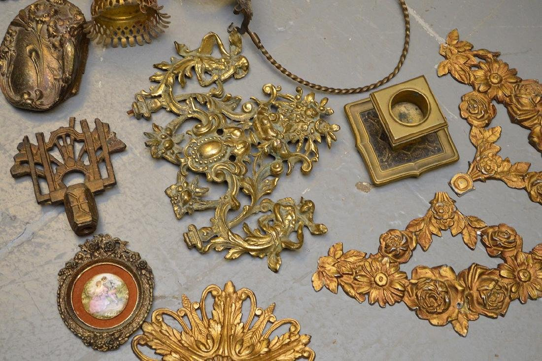 Collection of antique brass and metal accoutrements, - 3