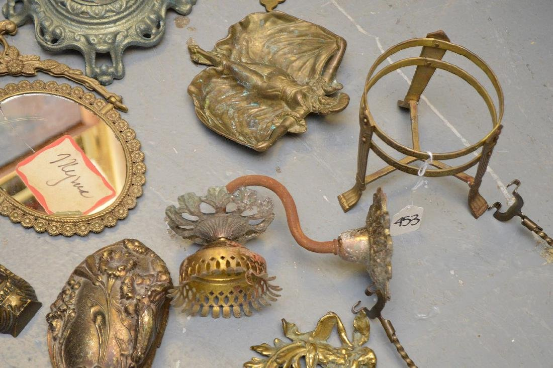 Collection of antique brass and metal accoutrements, - 4