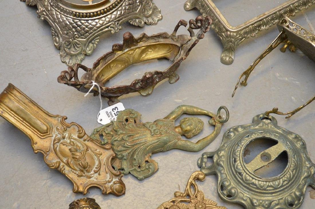 Collection of antique brass and metal accoutrements, - 5