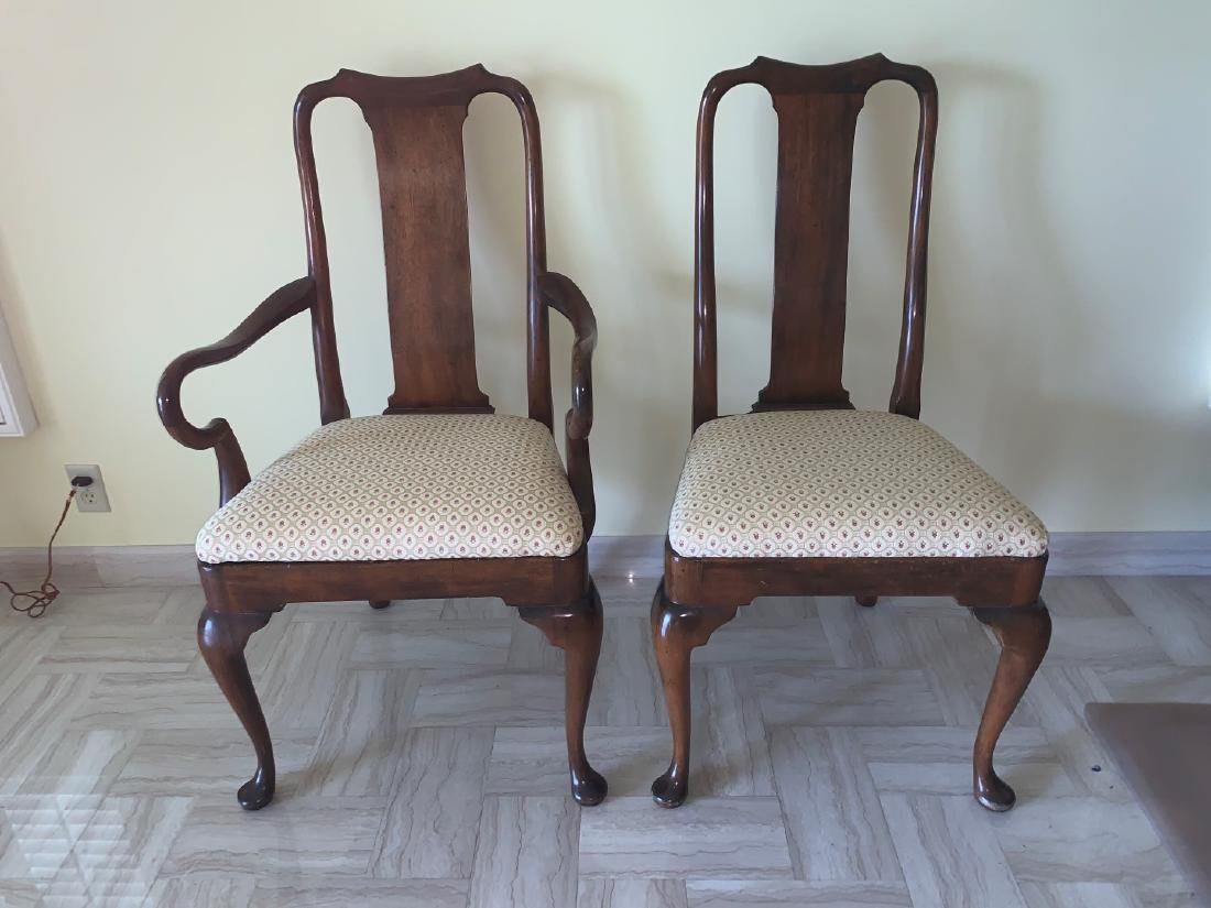 Mahogany Queen Anne style chairs, 1 arm, 1 side, small