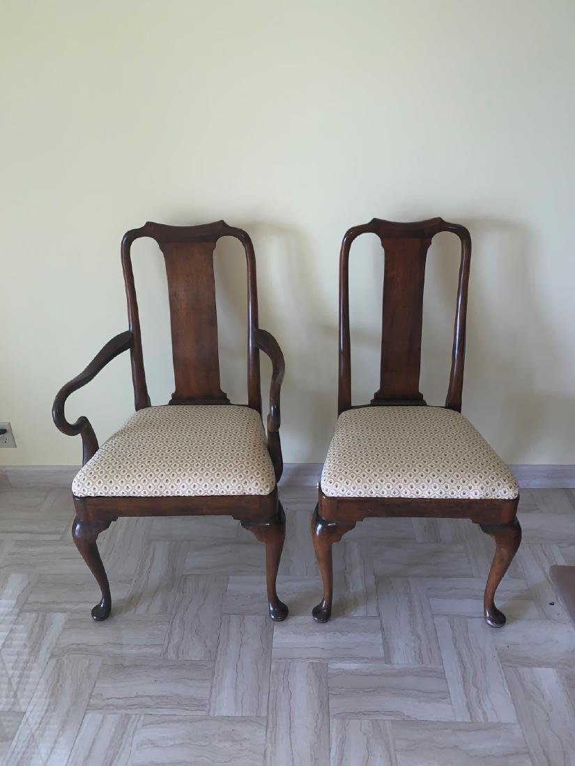 Mahogany Queen Anne style chairs, 1 arm, 1 side, small - 2