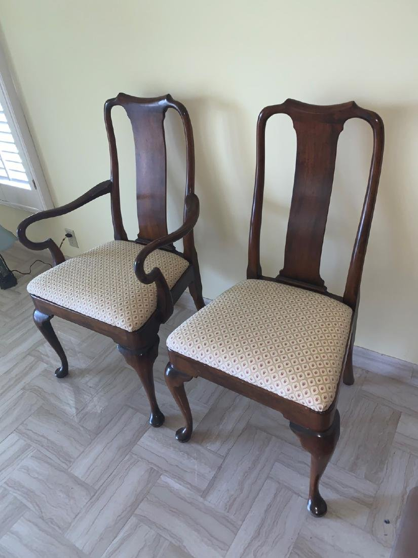 Mahogany Queen Anne style chairs, 1 arm, 1 side, small - 3