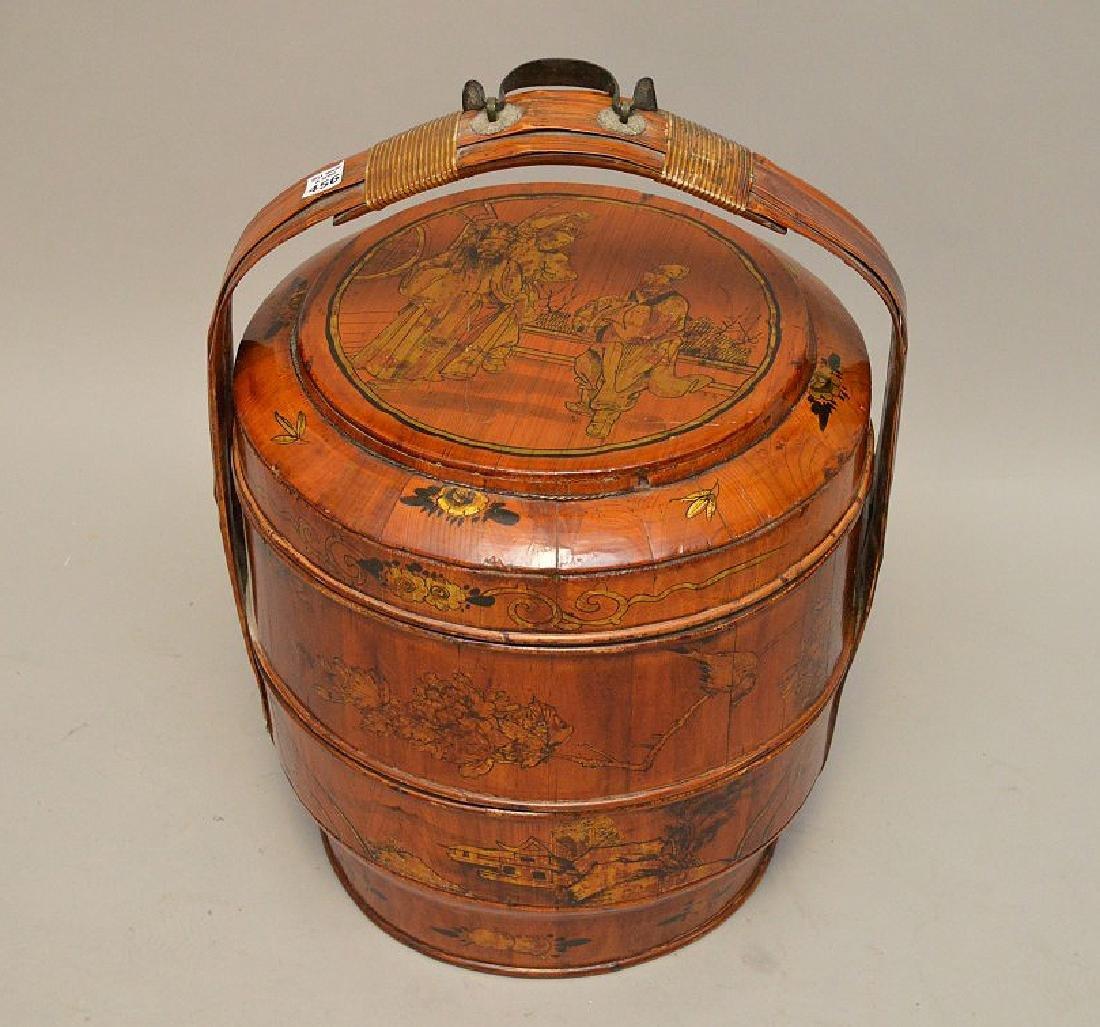 "Asian wedding basket, 2 storage compartments, 23""h x"