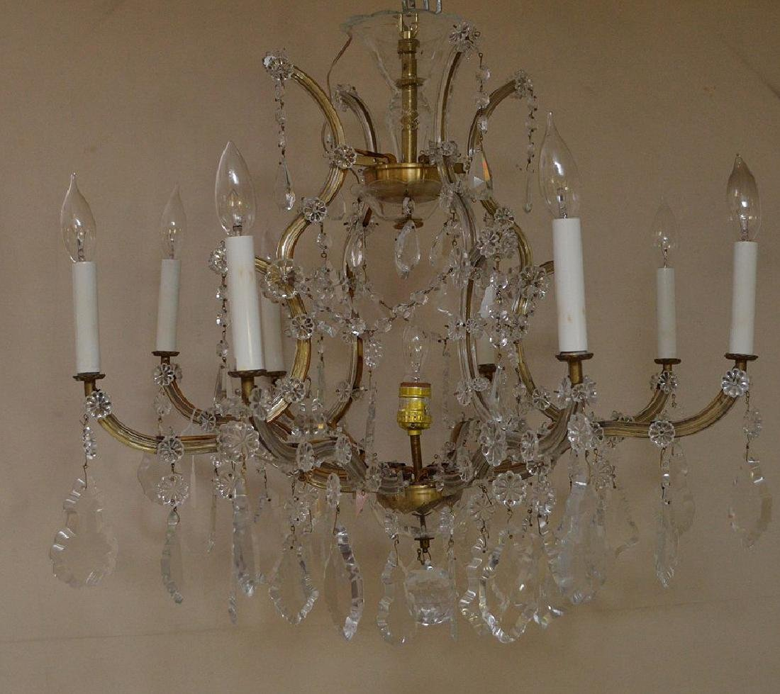 "Crystal 8 arm chandelier with prisms, approx., 24""h x"