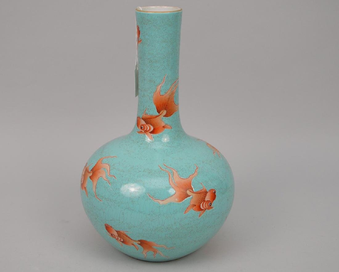 Chinese Qing Period Famille Rose Porcelain Vase With
