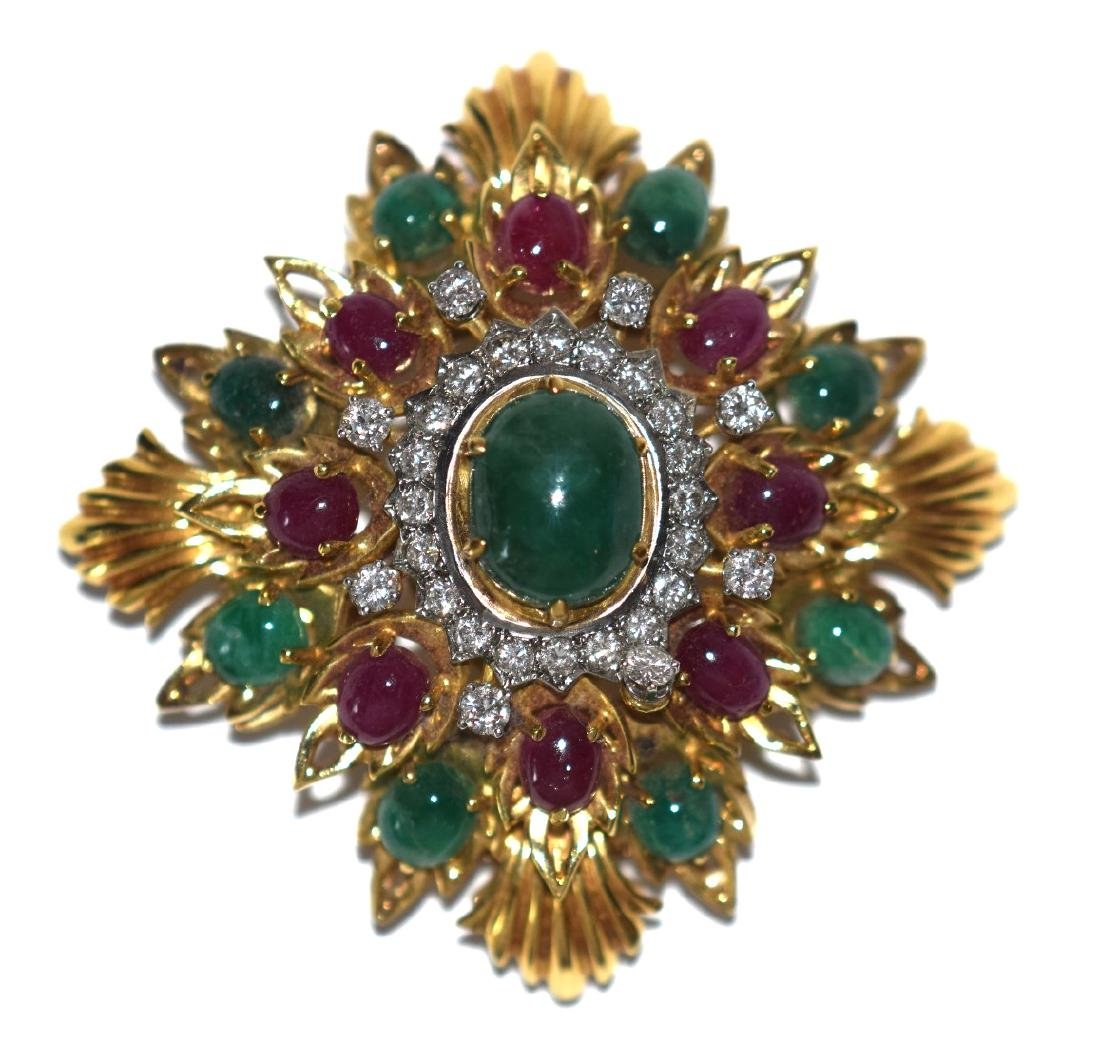 18kt yellow gold diamonds emerald & ruby Cabochon