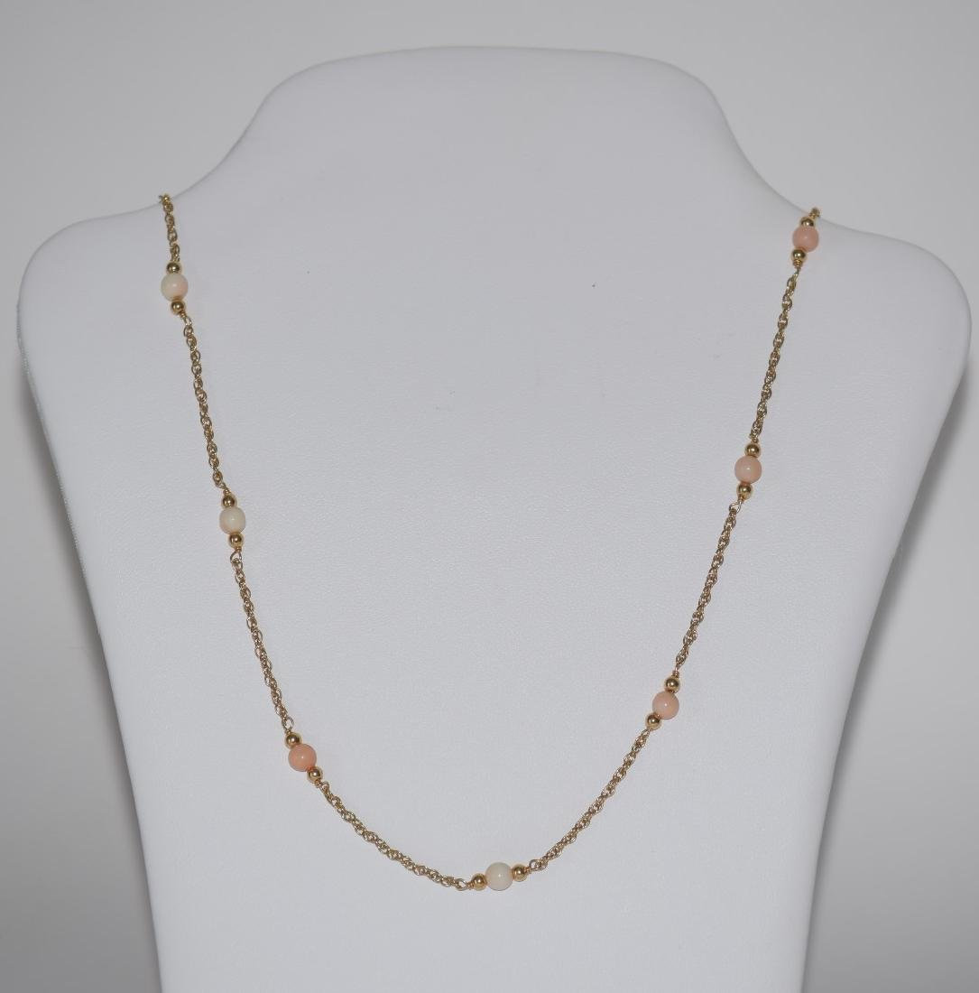 14k Yellow Gold & Coral beaded Necklace, Weight 5.9