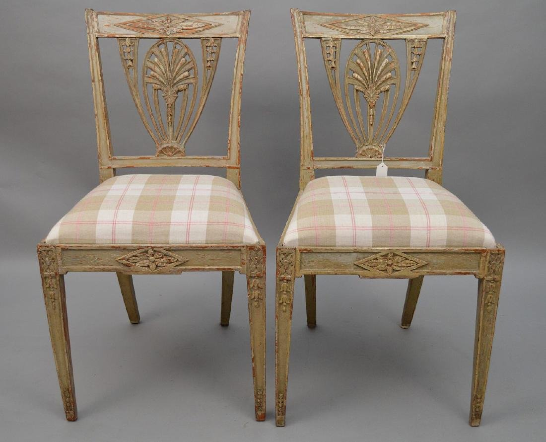 Pair original painted side chairs, carved bell flower