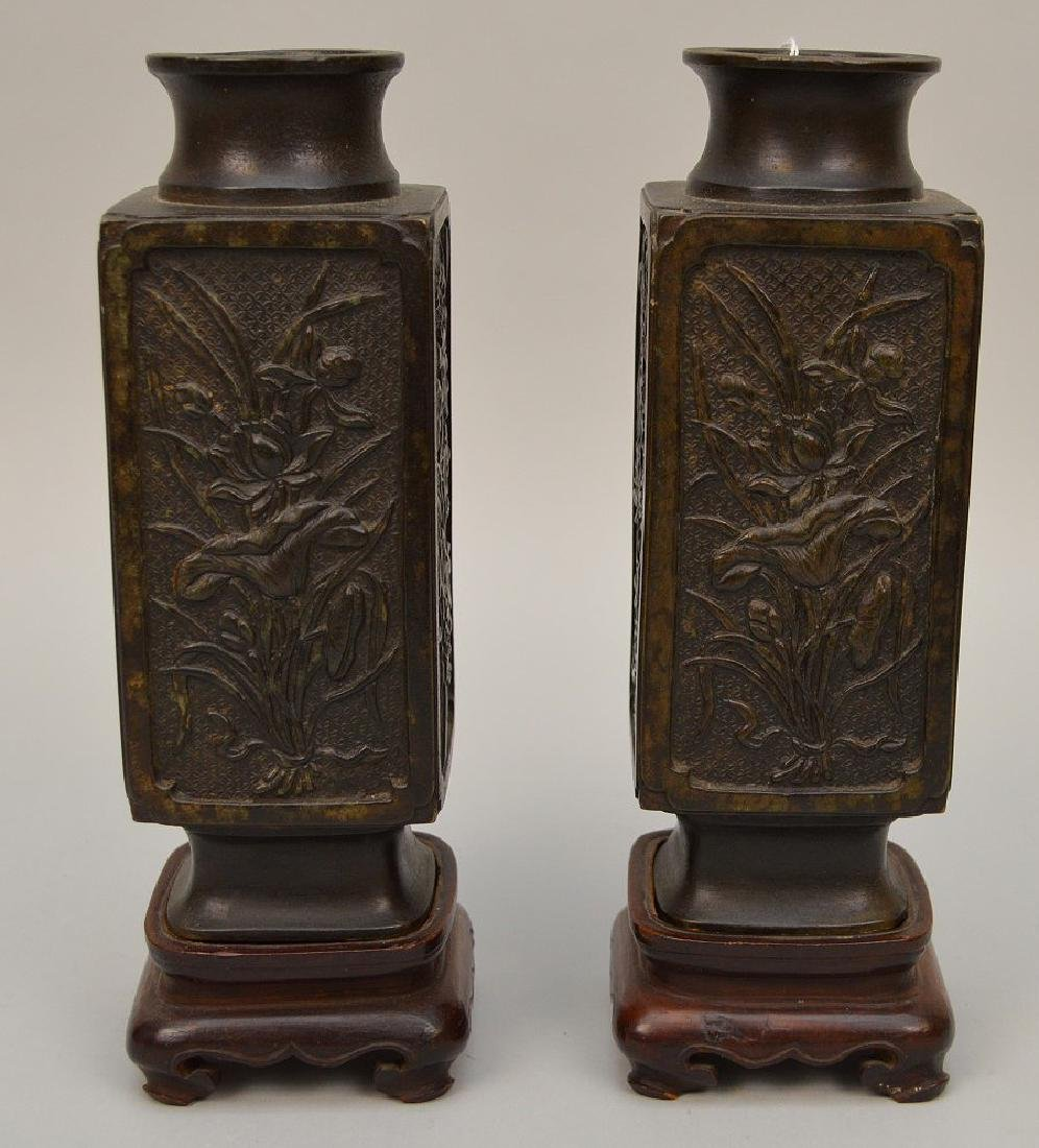 PAIR CHINESE BRONZE VASES each with custom wood stand.