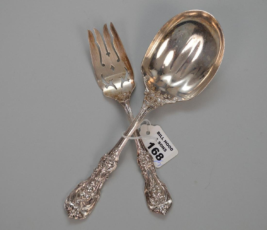 "Sterling Silver Serving Fork and Spoon. 8""-9.25"" size 6"