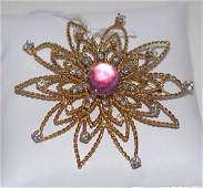 14k yellow Gold Starburst Brooch/ Pendant with pink
