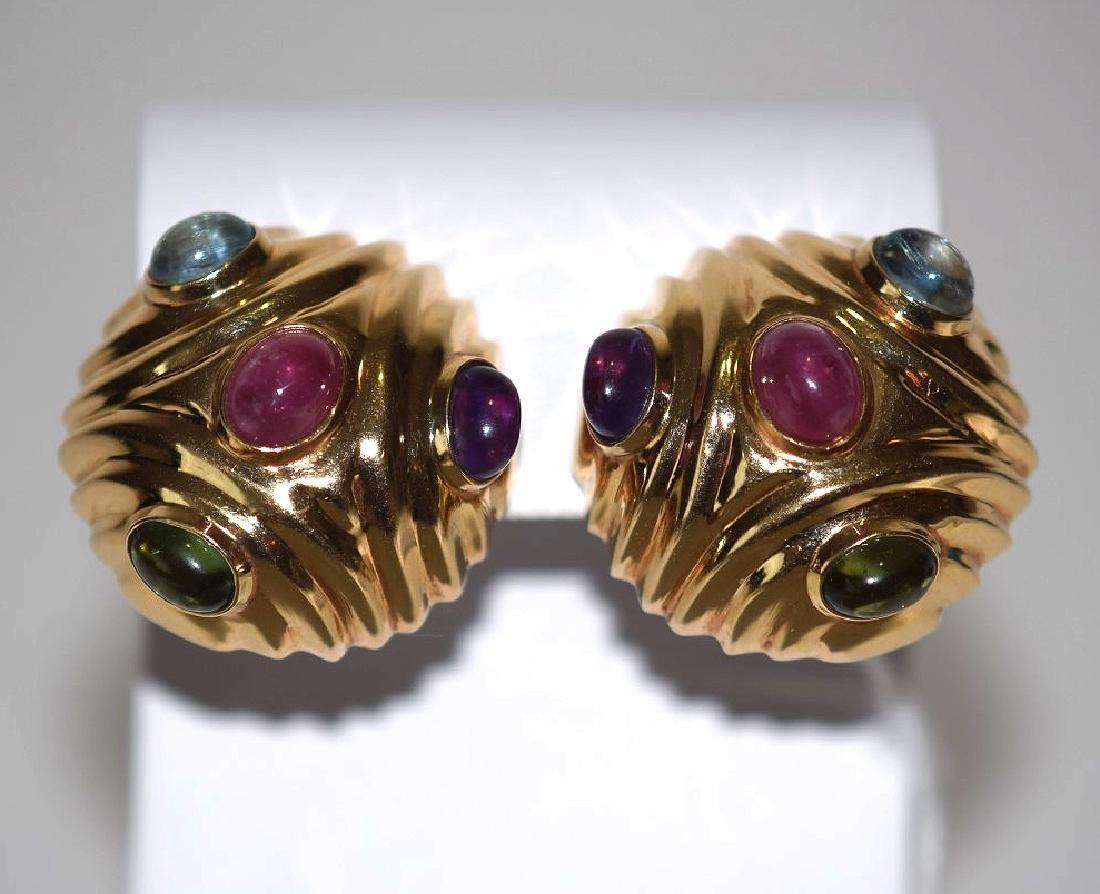 14k Yellow Gold Earrings, multi color semi precious
