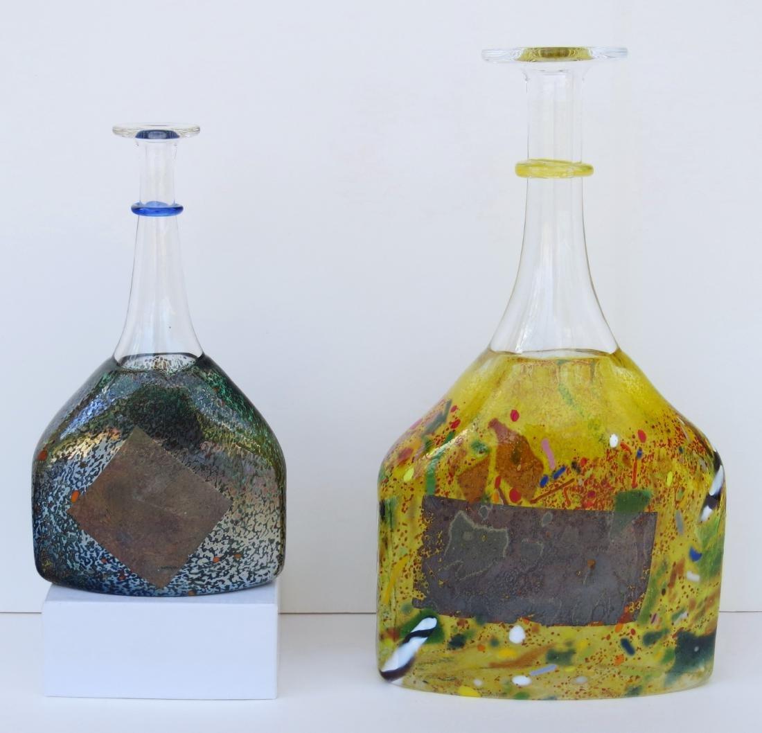 Two KOSTA BODA Blown SATELLITE Art Glass Bottle Vases