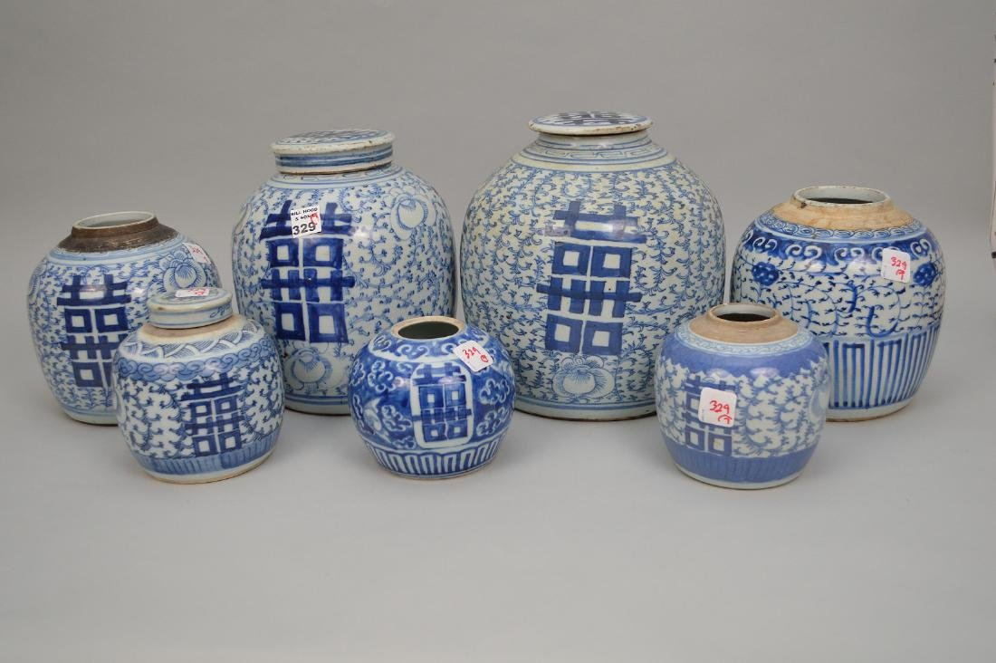 7 blue & white oriental ginger jars, assorted sizes and