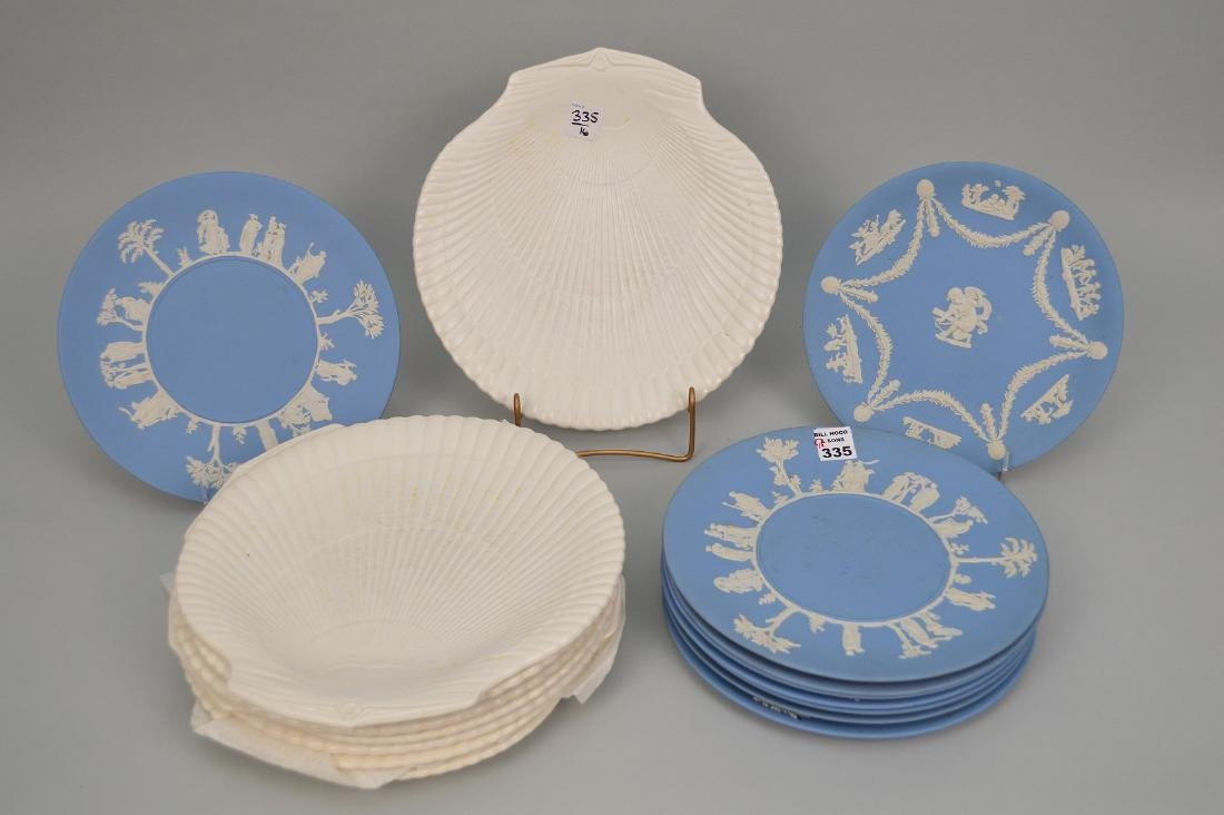 "2 sets Wedgwood plates, 9 blue Jasperware (9 5/8""dia)"