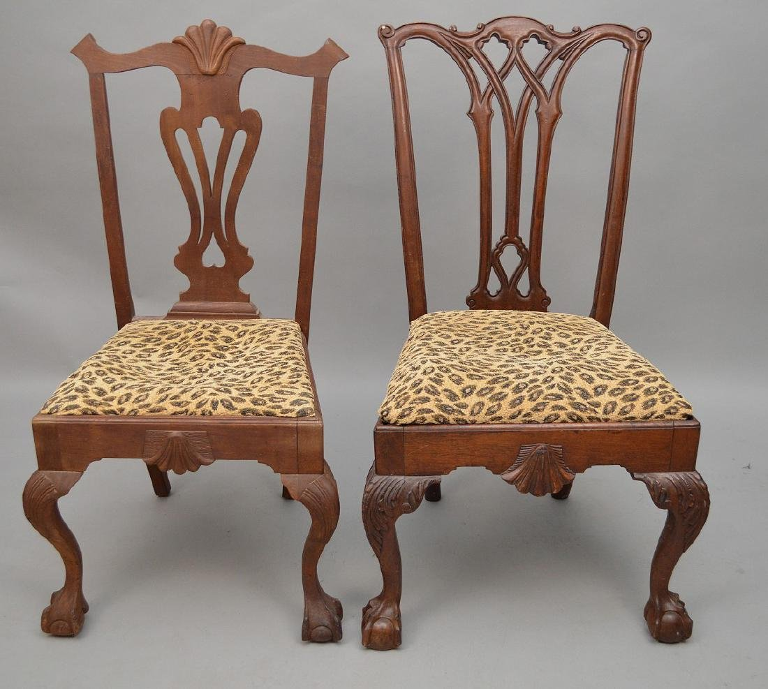 2 Chippendale style mahogany side chairs (needs