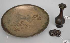 3 Early Chinese Metal Articles. Early Chinese 6 Sided